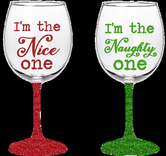 20oz Naughty or Nice Wine Glass Set