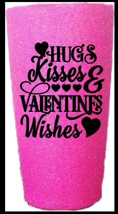 20 oz. Bubblegum Glitter Hugs & Kisses Custom Travel Mug