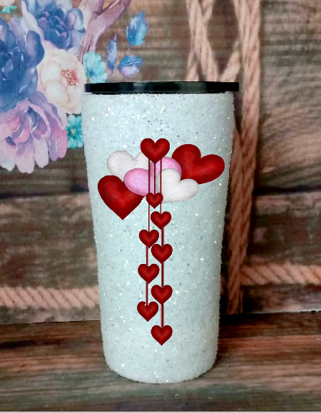 20 oz. White Glitter Colored Hearts Custom Travel Mug