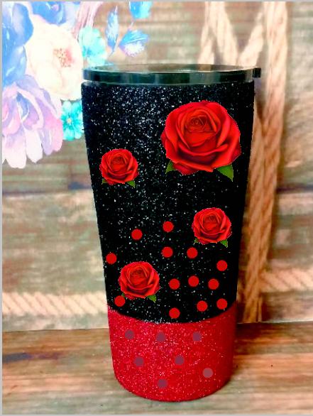 20 oz. Black Glitter Red Roses Custom Travel Mug