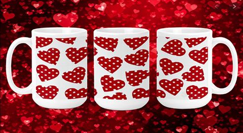 Polka Dot Hearts 15oz Valentine Mug
