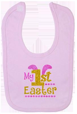 1st Easter Glitter Girl Bib