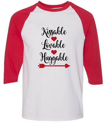 MCV012R Kissable Red white Raglan