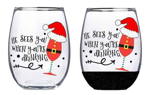 21oz Stemless He Sees When You're Drinking Wine Glass