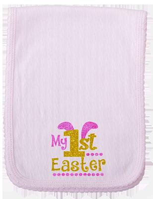 1st Easter Glitter Girl Burp Cloth