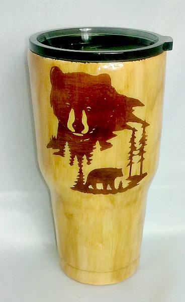 Light Woodgrain Bear Scene 30 oz Custom Tumbler