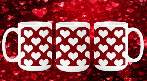 Hearts on Red IV 15oz Valentine Mug