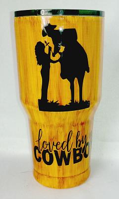 Loved By A Cowboy Woodgrain Custom 30 oz Tumbler