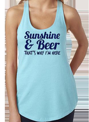 Sunshine & Beer Racerback Tank Top