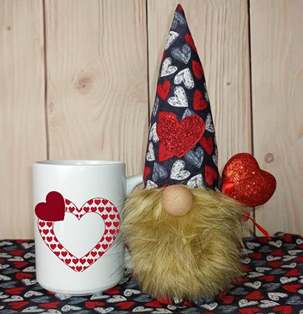 Heart Applique Gnome In A Mug