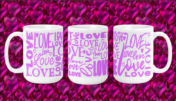 Pink Love Words on White 15oz Valentine Mug