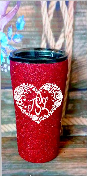 20 oz. Red Glitter White Roses Heart Monogram Custom Travel Mug