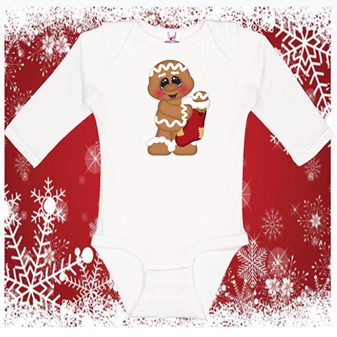 Gingerbread w stocking Longlseeve Onesie or Toddler Tee