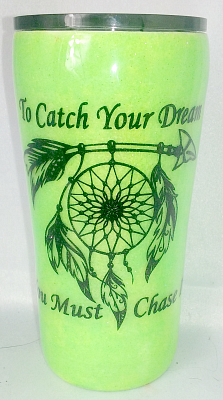 Neon Green Dreamcatcher Custom 20 oz Tumbler