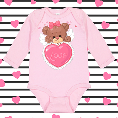 Angel Heart Bear Onesie or Toddler Tee