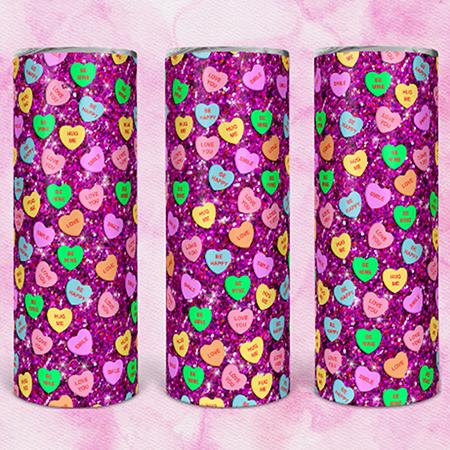 Hot Pink Candy Hearts 20 or 30oz Skinny Custom Tumbler