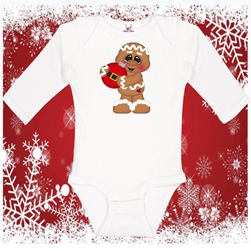 Gingerbread w/ornament Longsleeve Onesie or Toddler Tee