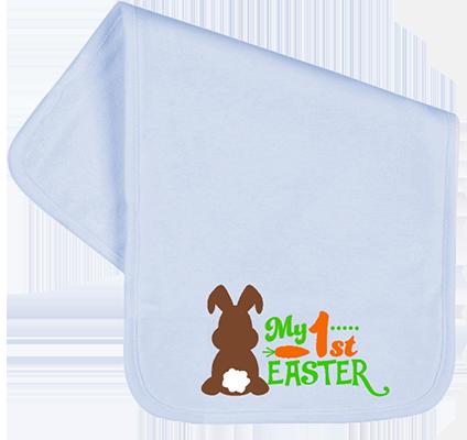 1st Easter Chocolate Bunny Boys Burp Cloth
