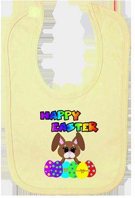 Happy Easter Rainbow Bunny w Eggs Bib