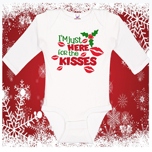 I'm Just Here For The Kisses Longsleeve Onesie or Toddler Tee