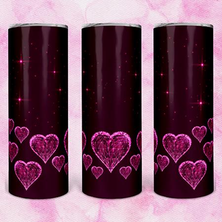 Burgundy w/ Pink Hearts 20 or 30oz Skinny Custom Tumbler