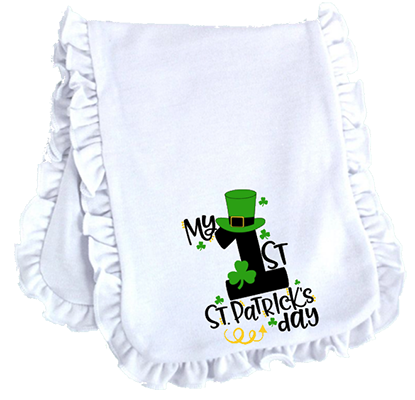 1st St Patricks Day Tophat Ruffled or Scallop Edge Burp Cloth
