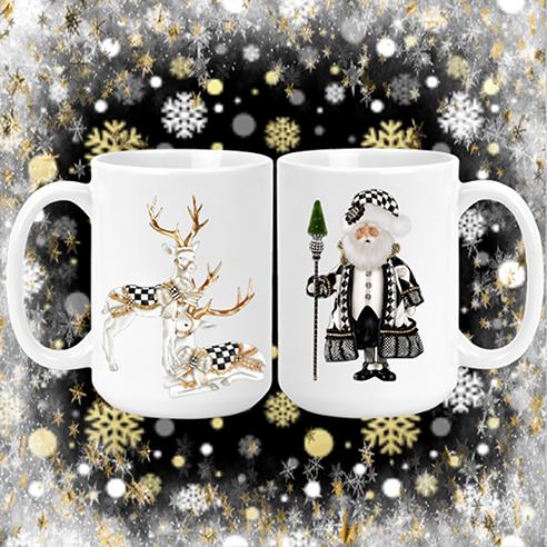 Santa & Reindeer Mug black