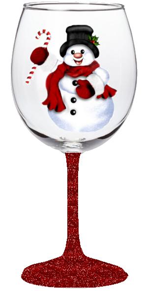 20oz Snowman Wine Glass