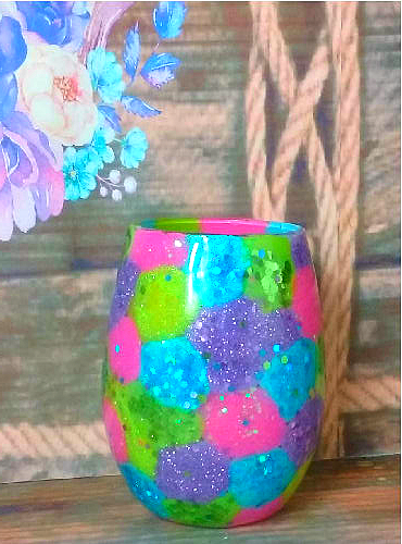 21 oz Stemless Easter Custom Glittered Wine Glass