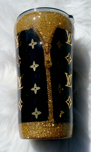Black and Gold Zipper Custom Tumbler