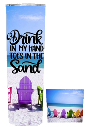 Dink In My Hand Toes In The Sand 20 or 30 oz Summer Wrap Tumbler