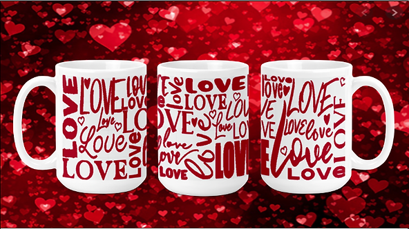 Red Love Words on White 15oz Valentine Mug