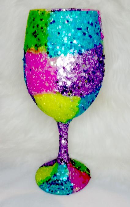 20 oz Custom Glittered Easter Wine Glass