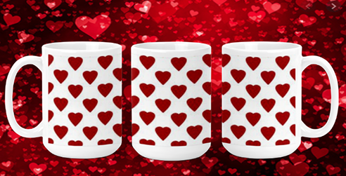 Hearts on White II 15oz Valentine Mug