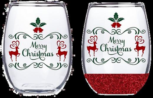 21oz Stemless Merry Christmas Deer Wine Glass