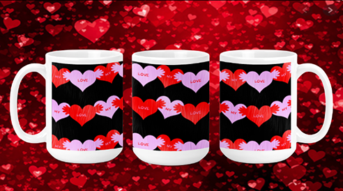 Red & Pink Candy Hearts 15oz Valentine Mug