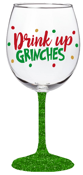 20oz Drink Up Grinches Wine Glass