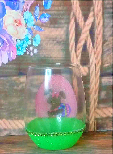21 oz Stemless Easter Glittered Custom Wine Glass