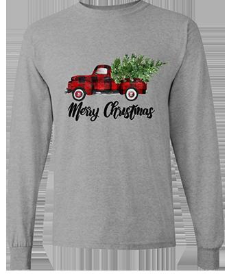 Mens Merry Christmas Red Truck Longsleeve Tee