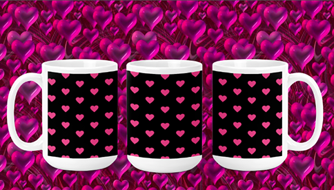 Pink Hearts on black 15oz Valentine Mug