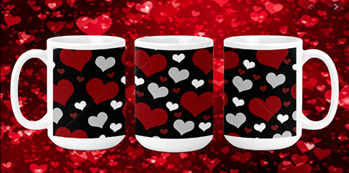Red Grey Hearts 15oz Valentine Mug