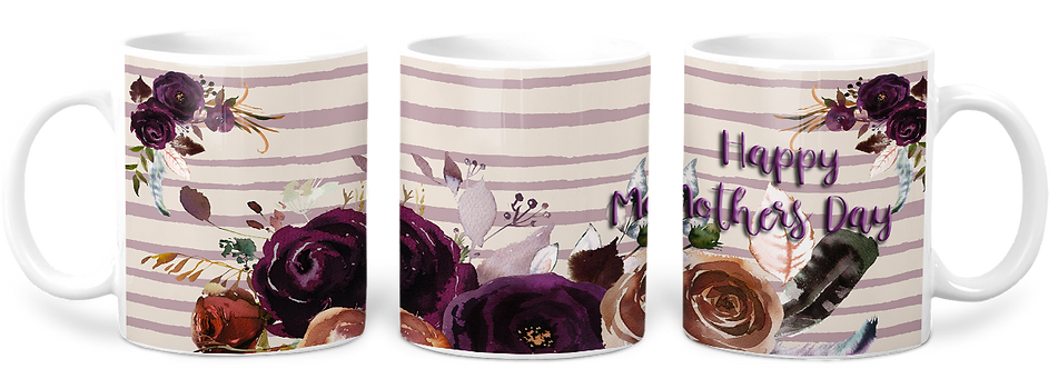 Happy Mothers Day Plum Floral Coffee Mug