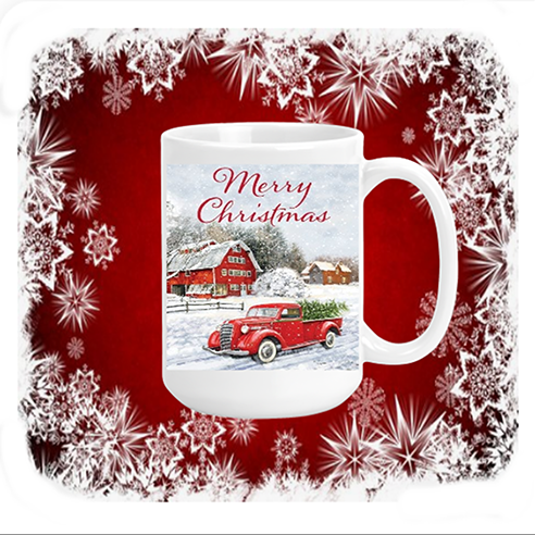 Merry Christmas Red Truck & Barn Mug