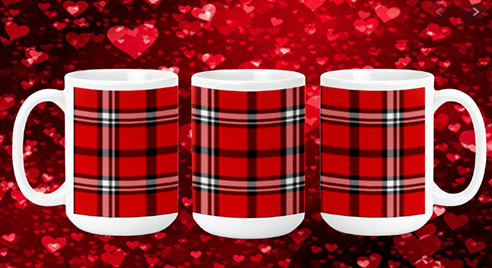 Red Plaid 15oz Valentine Mug