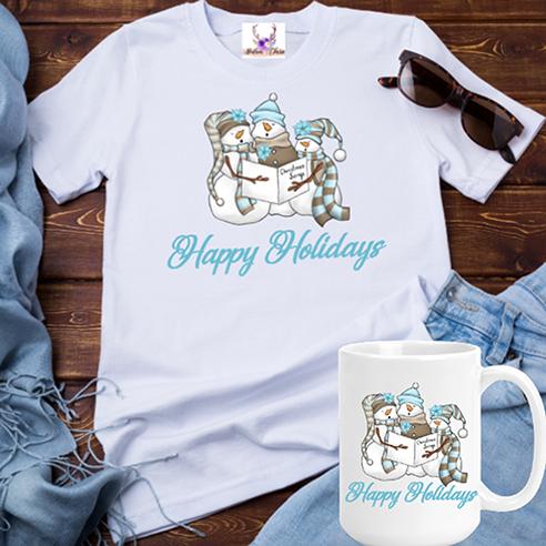 Happy Holidays Snowmen Tee