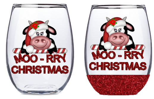 21oz Stemless Moo-rry Christmas Wine Glass