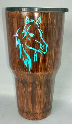 Opal Horsehead Woodgrain Custom 30 oz Tumbler