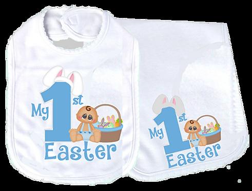 Baby Boy 1st Easter Scallop Edge White Bib & Burp Cloth Set