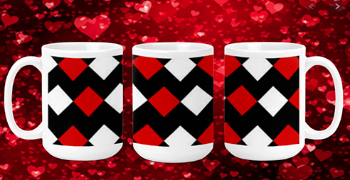 Red & White Diamonds 15oz Valentine Mug