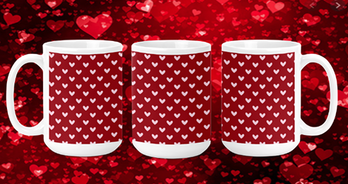 Tiny Hearts on Red 15oz Valentine Mug